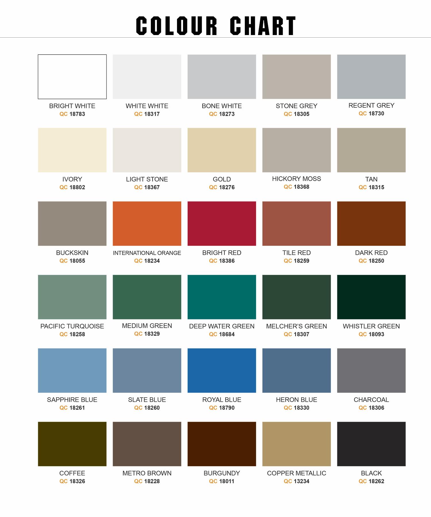 Econospan Structures Corp Manufacturers Of Steel Buildings Metal Buildings Colour Chart